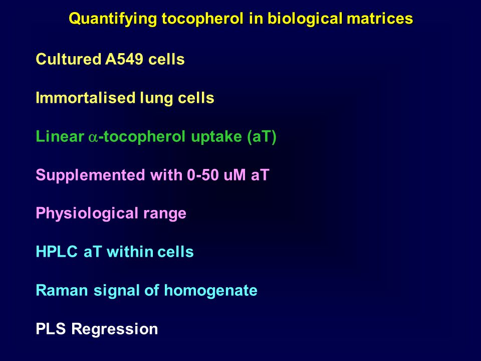Quantifying tocopherol in biological matrices Cultured A549 cells Immortalised lung cells Linear  -tocopherol uptake (aT) Supplemented with 0-50 uM a