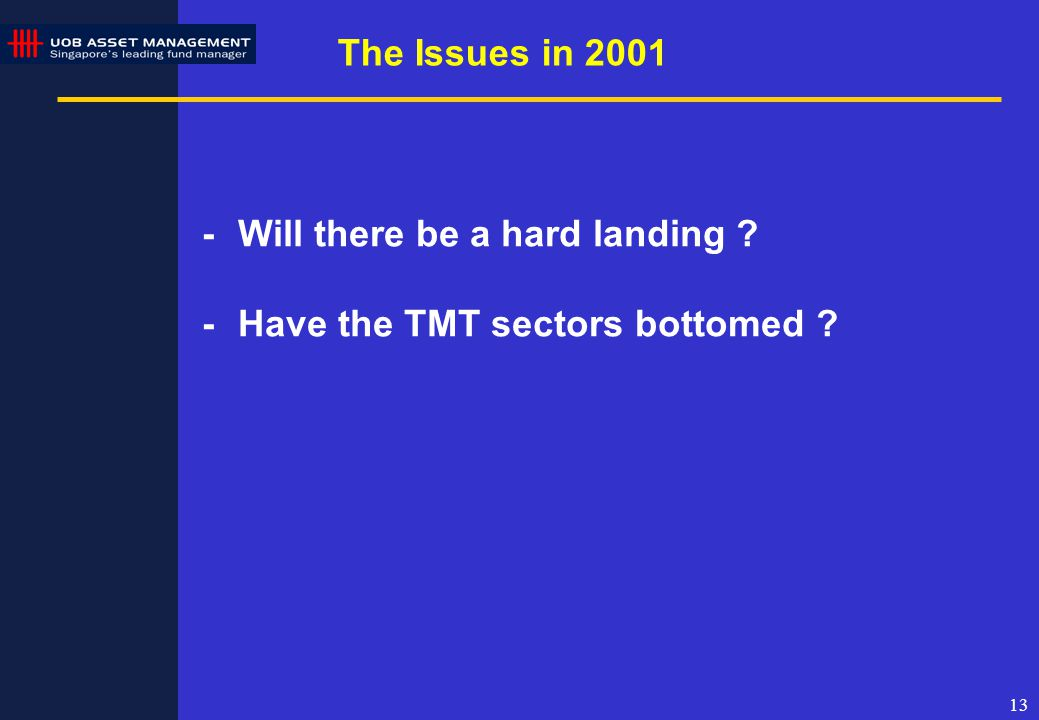 13 The Issues in 2001 -Will there be a hard landing ? -Have the TMT sectors bottomed ?