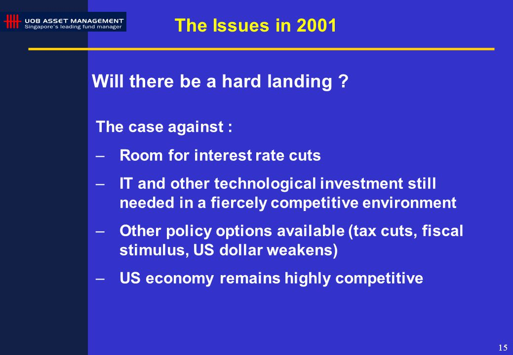 15 The Issues in 2001 Will there be a hard landing .