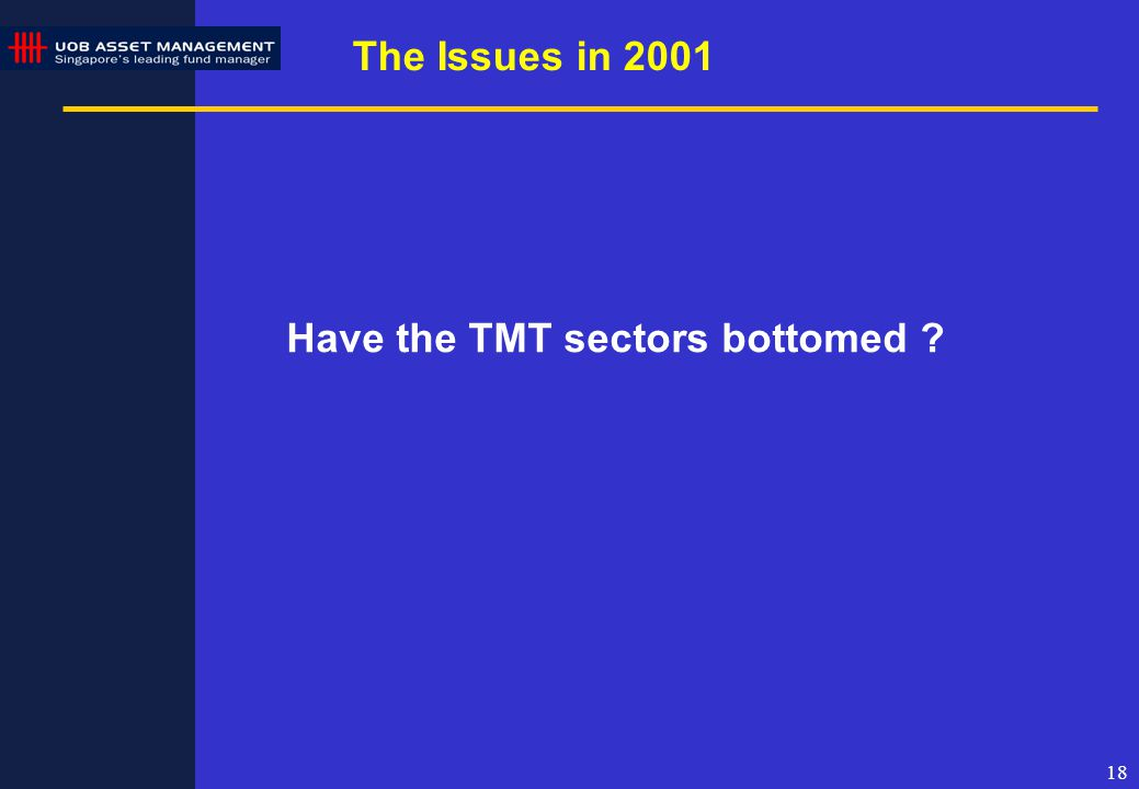 18 The Issues in 2001 Have the TMT sectors bottomed ?