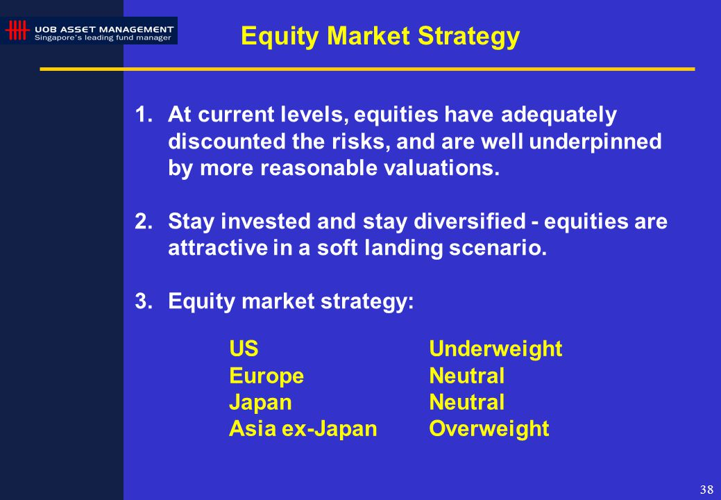38 Equity Market Strategy 1.At current levels, equities have adequately discounted the risks, and are well underpinned by more reasonable valuations.