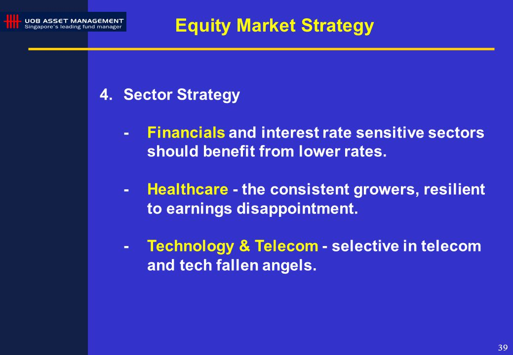 39 4.Sector Strategy -Financials and interest rate sensitive sectors should benefit from lower rates.