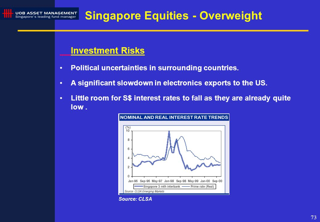 73 Investment Risks Political uncertainties in surrounding countries.