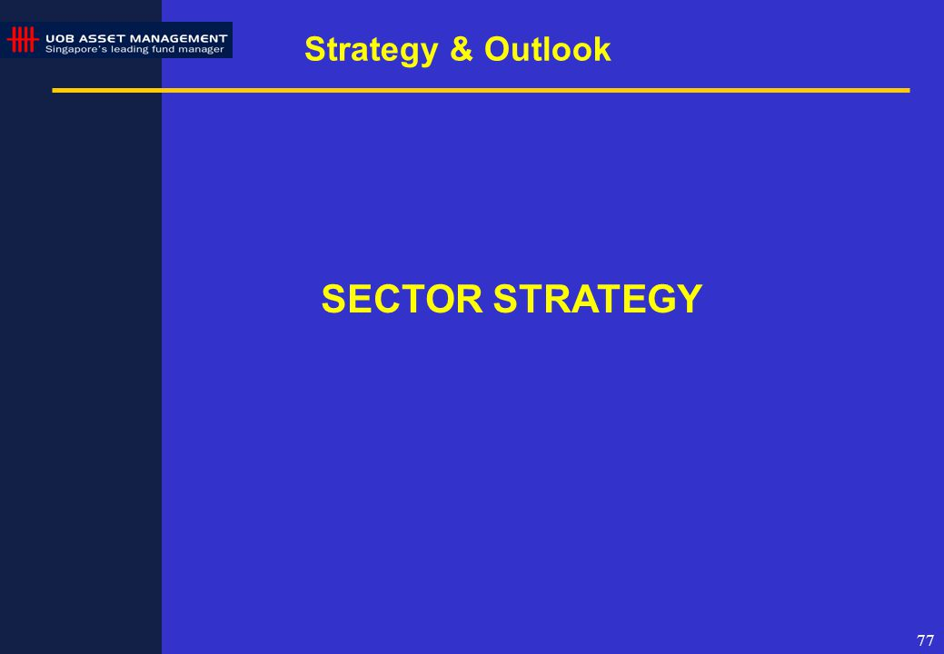 77 Strategy & Outlook SECTOR STRATEGY