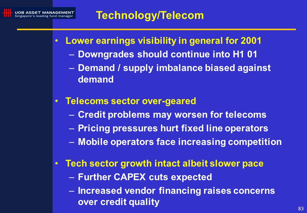 83 Technology/Telecom Lower earnings visibility in general for 2001 –Downgrades should continue into H1 01 –Demand / supply imbalance biased against demand Telecoms sector over-geared –Credit problems may worsen for telecoms –Pricing pressures hurt fixed line operators –Mobile operators face increasing competition Tech sector growth intact albeit slower pace –Further CAPEX cuts expected –Increased vendor financing raises concerns over credit quality