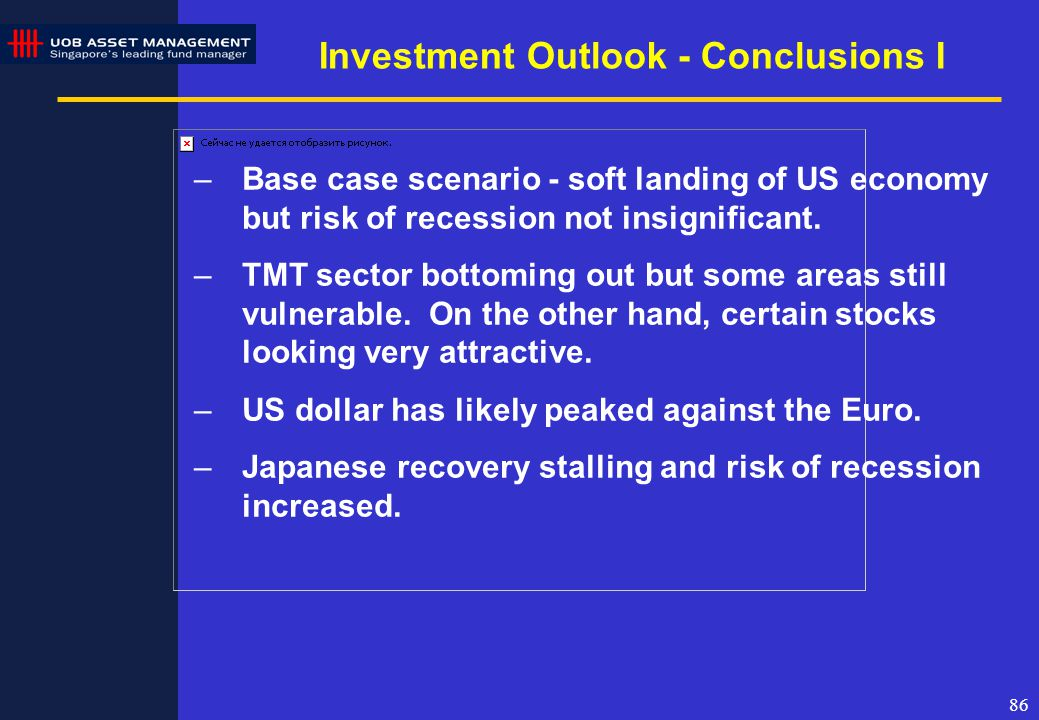 86 Investment Outlook - Conclusions I –Base case scenario - soft landing of US economy but risk of recession not insignificant.