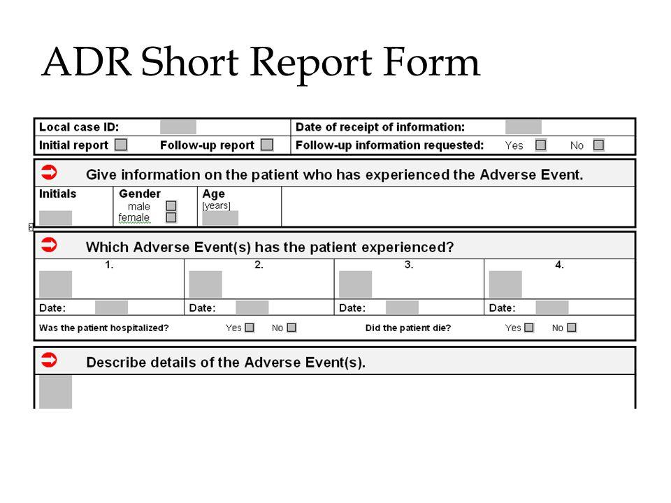 ADR Short Report Form