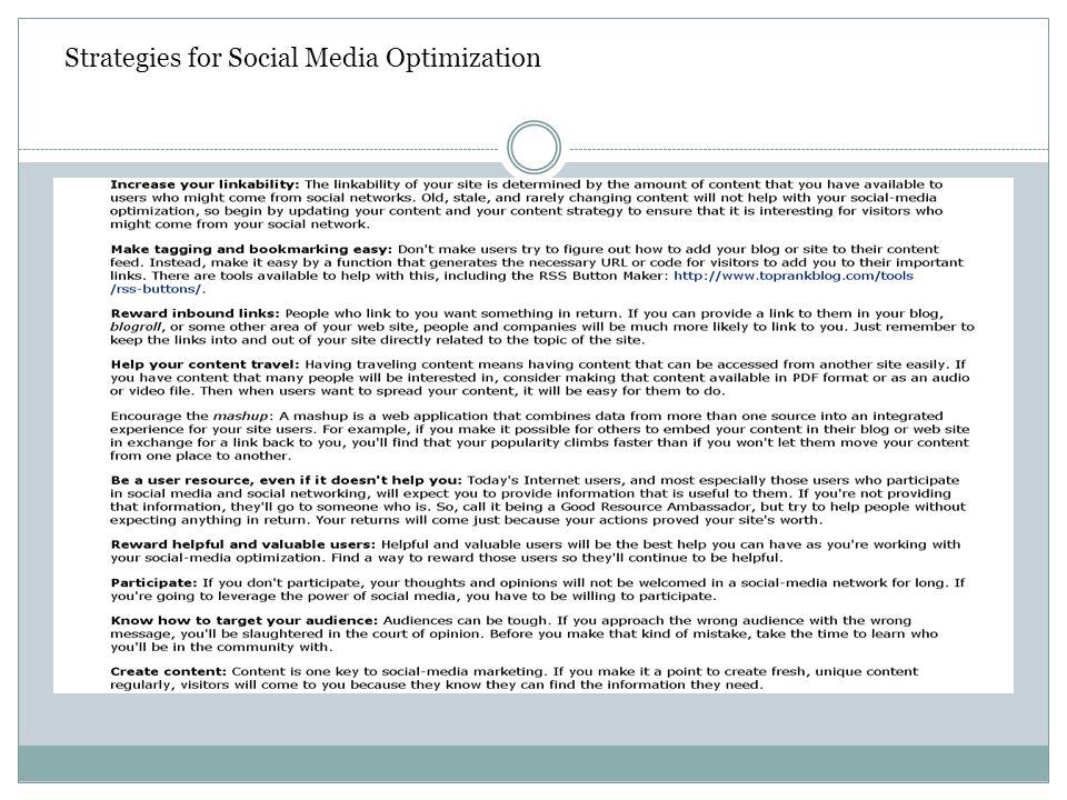 Strategies for Social Media Optimization