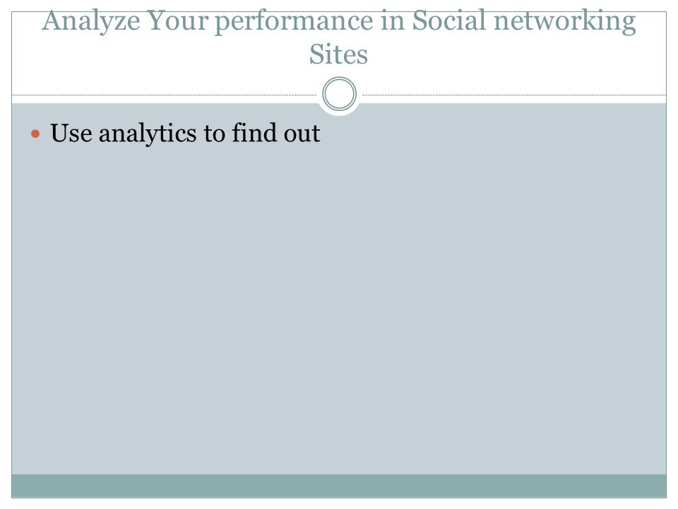 Analyze Your performance in Social networking Sites Use analytics to find out