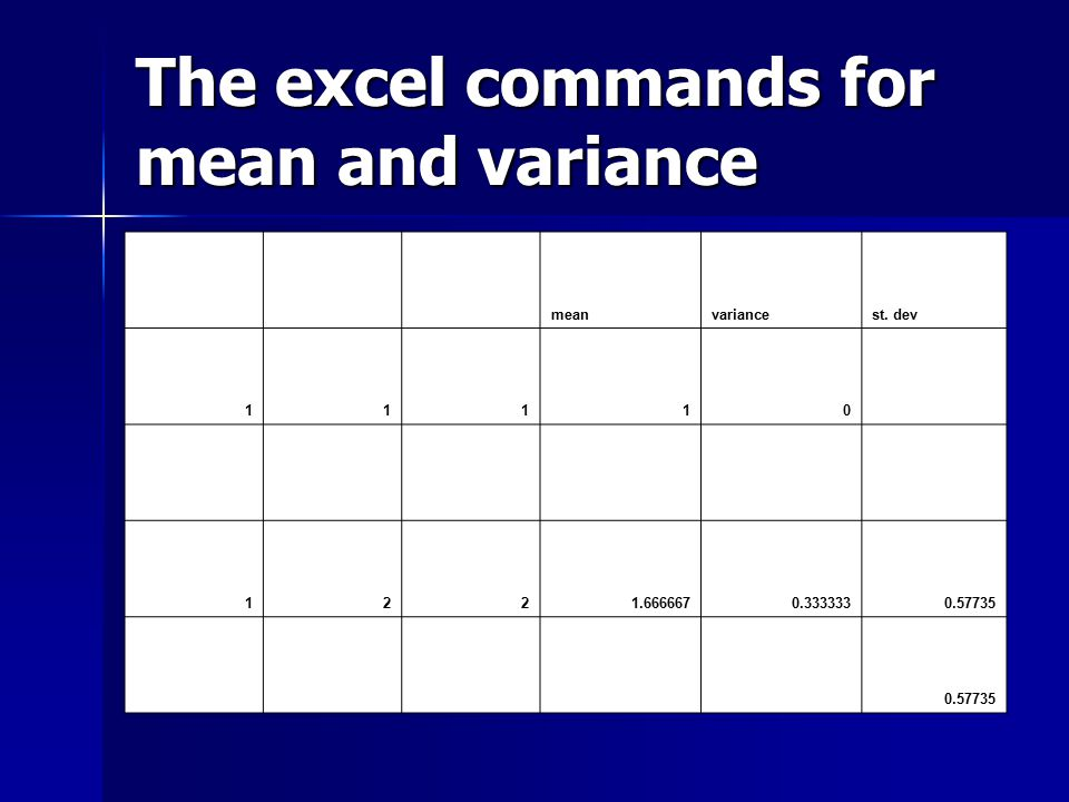 The excel commands for mean and variance meanvariancest. dev 11110 1221.6666670.3333330.57735