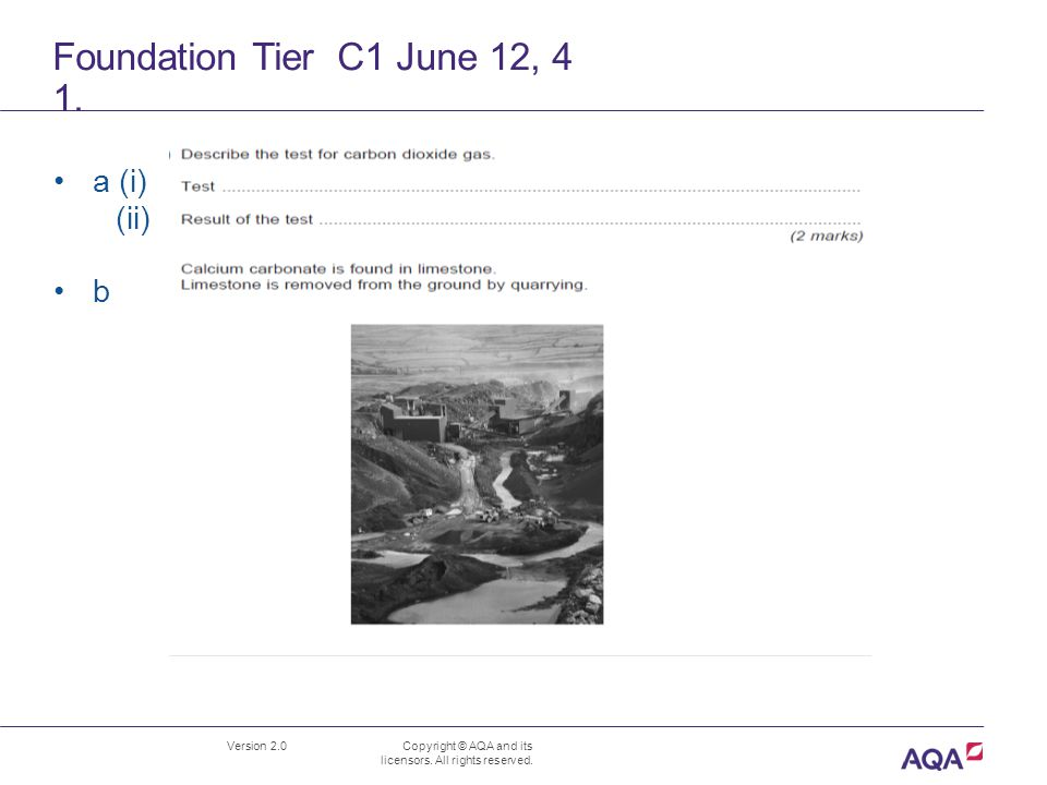 Foundation Tier C1 June 12, 4 1. Version 2.0 Copyright © AQA and its licensors.