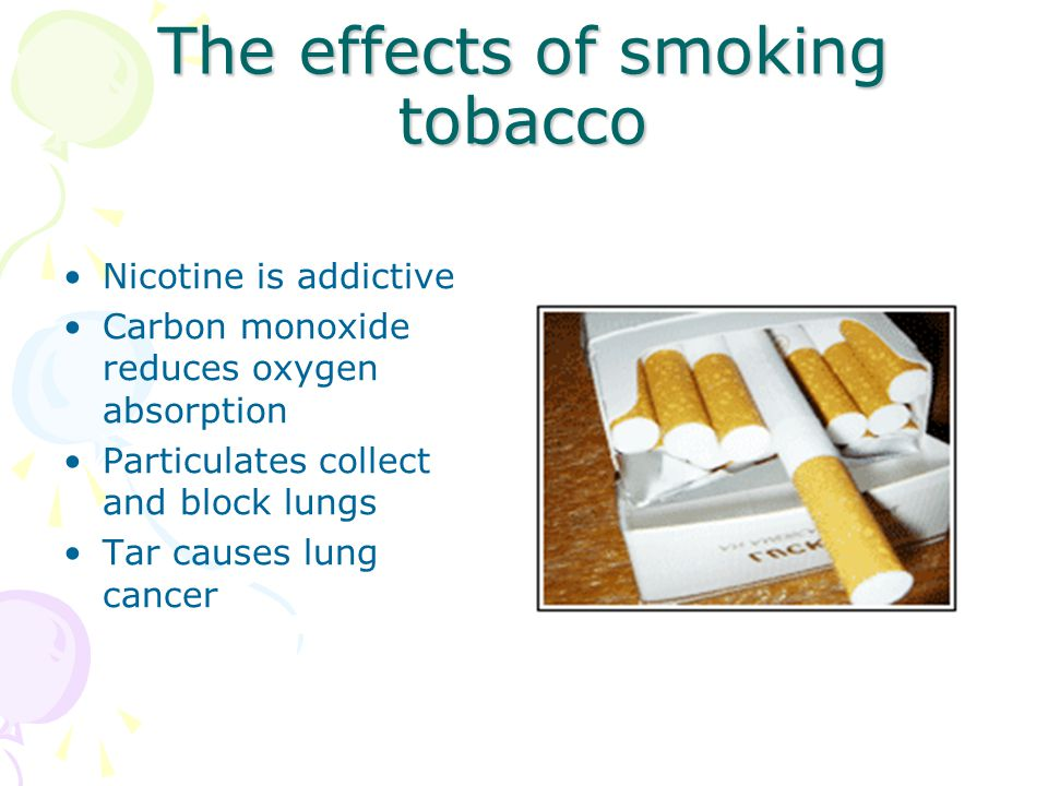 The effects of smoking tobacco Nicotine is addictive Carbon monoxide reduces oxygen absorption Particulates collect and block lungs Tar causes lung cancer