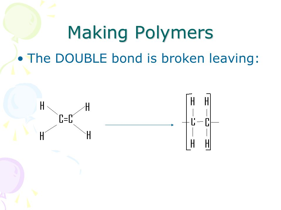 Making Polymers The DOUBLE bond is broken leaving: