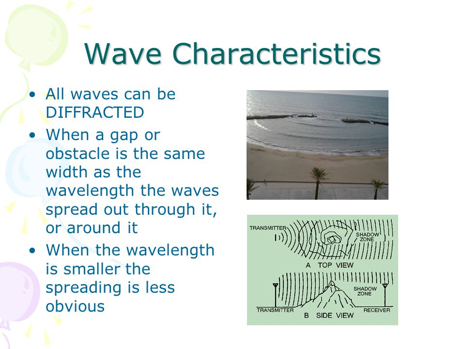 Wave Characteristics All waves can be DIFFRACTED When a gap or obstacle is the same width as the wavelength the waves spread out through it, or around it When the wavelength is smaller the spreading is less obvious