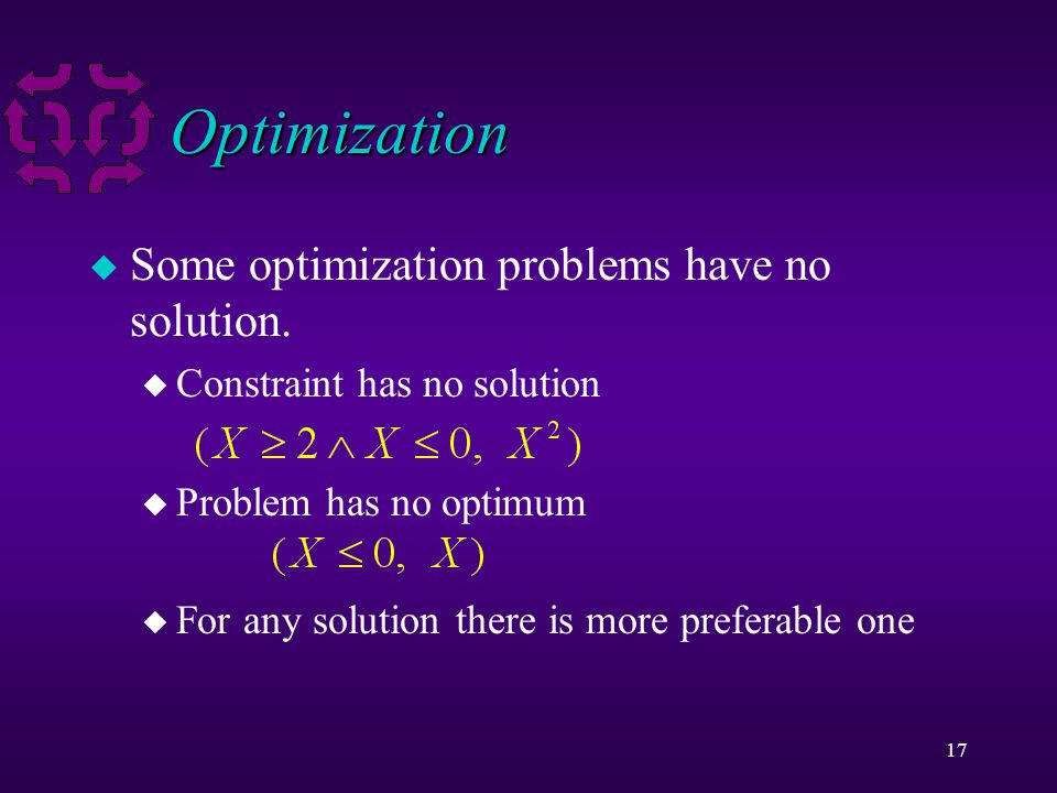 17 Optimization u Some optimization problems have no solution.