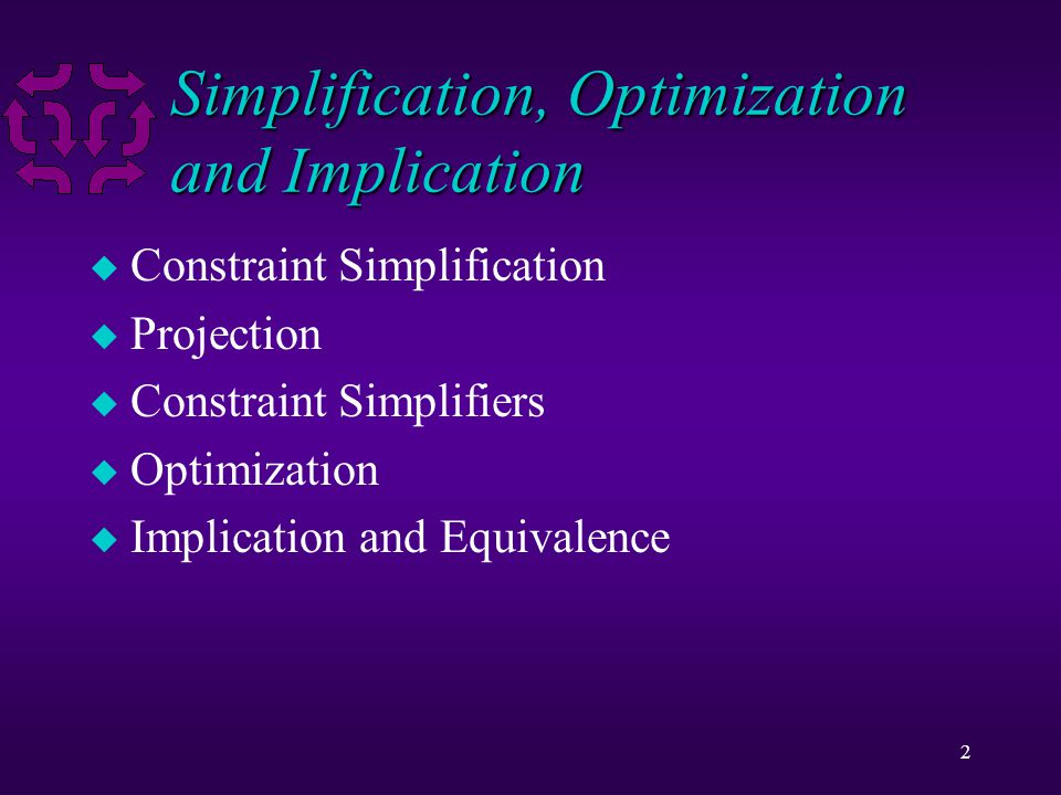 2 Simplification, Optimization and Implication u Constraint Simplification u Projection u Constraint Simplifiers u Optimization u Implication and Equivalence