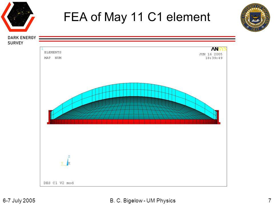 6-7 July 20057B. C. Bigelow - UM Physics FEA of May 11 C1 element