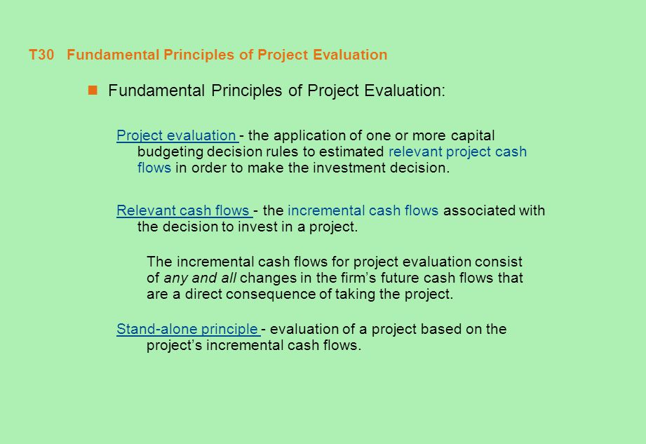 T31 Incremental Cash Flows Incremental Cash Flows Key issues:  When is a cash flow incremental.