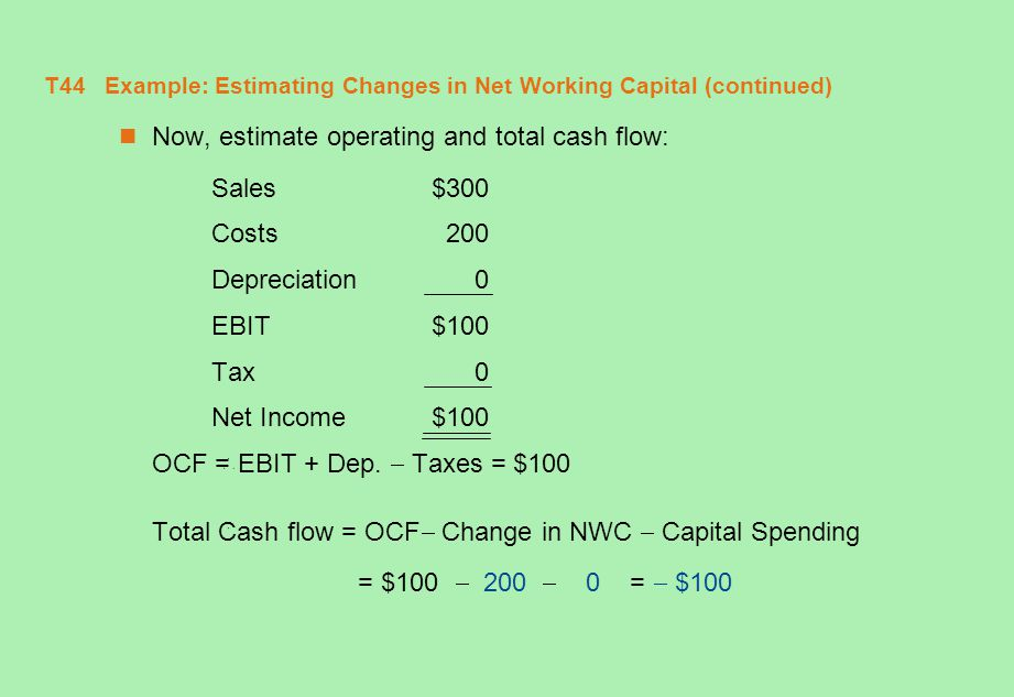 T45 Example: Estimating Changes in Net Working Capital (concluded) Where did the - $100 in total cash flow come from.