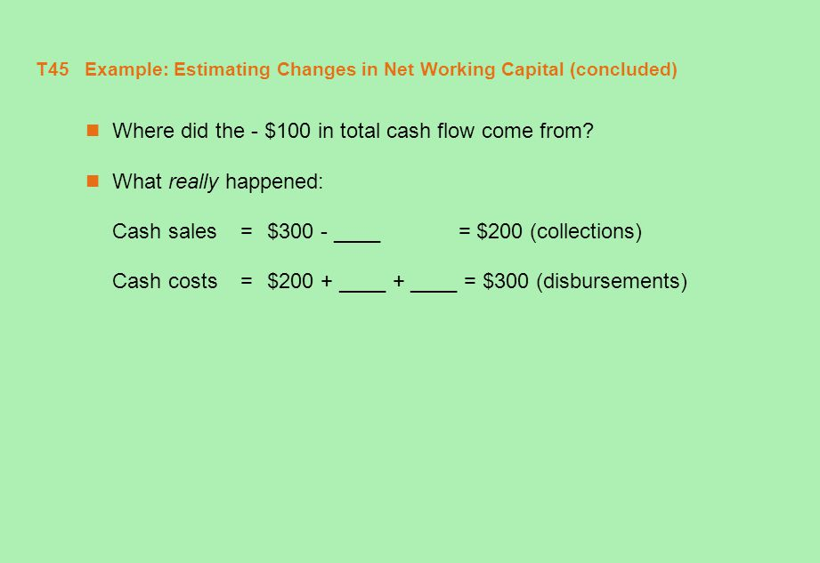 T46 Example: Estimating Changes in Net Working Capital (concluded) Where did the - $100 in total cash flow come from.