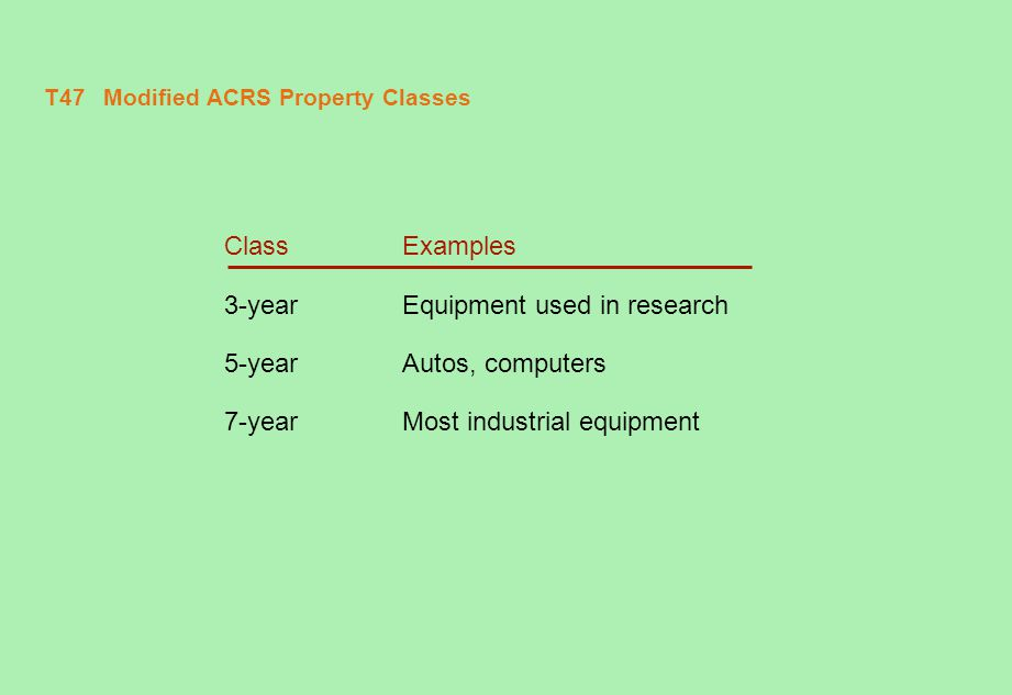 T48 Modified ACRS Depreciation Allowances Property Class Year 3-Year 5-Year 7-Year 133.33%20.00%14.29% 244.4432.0024.49 314.8219.2017.49 47.4111.5212.49 511.528.93 65.768.93 78.93 84.45