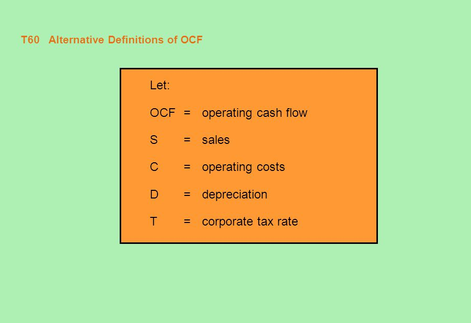 T61 Alternative Definitions of OCF (concluded) The Tax-Shield Approach OCF = (S - C - D) + D - (S - C - D)  T = (S - C)  (1 - T) + (D  T) =(S - C)  (1 - T) + Depreciation x T The Bottom-Up Approach OCF =(S - C - D) + D - (S - C - D)  T = (S - C - D)  (1 - T) + D = Net income + Depreciation The Top-Down Approach OCF = (S - C - D) + D - (S - C - D)  T = (S - C) - (S - C - D)  T = Sales - Costs - Taxes