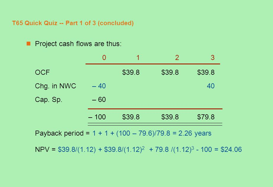 T65 Quick Quiz -- Part 1 of 3 (concluded) Project cash flows are thus: 0123 OCF$39.8$39.8$39.8 Chg. in NWC– 4040 Cap. Sp.– 60 – 100$39.8$39.8$79.8 Pay