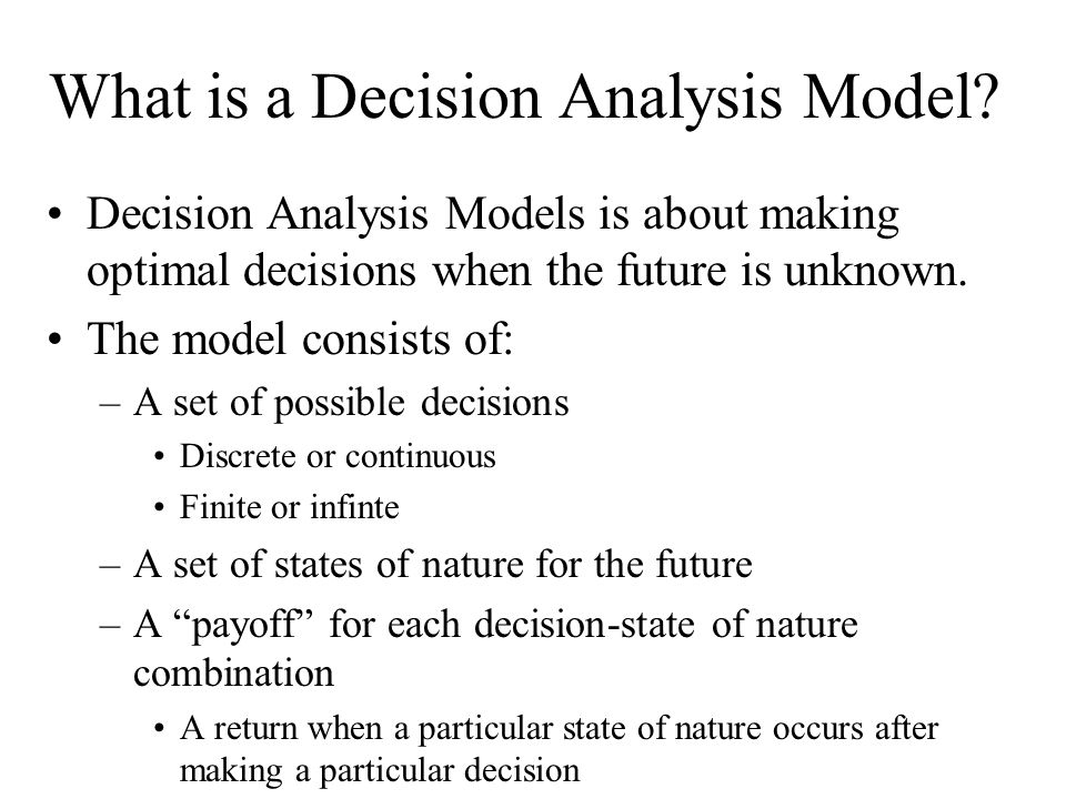 What is a Decision Analysis Model.