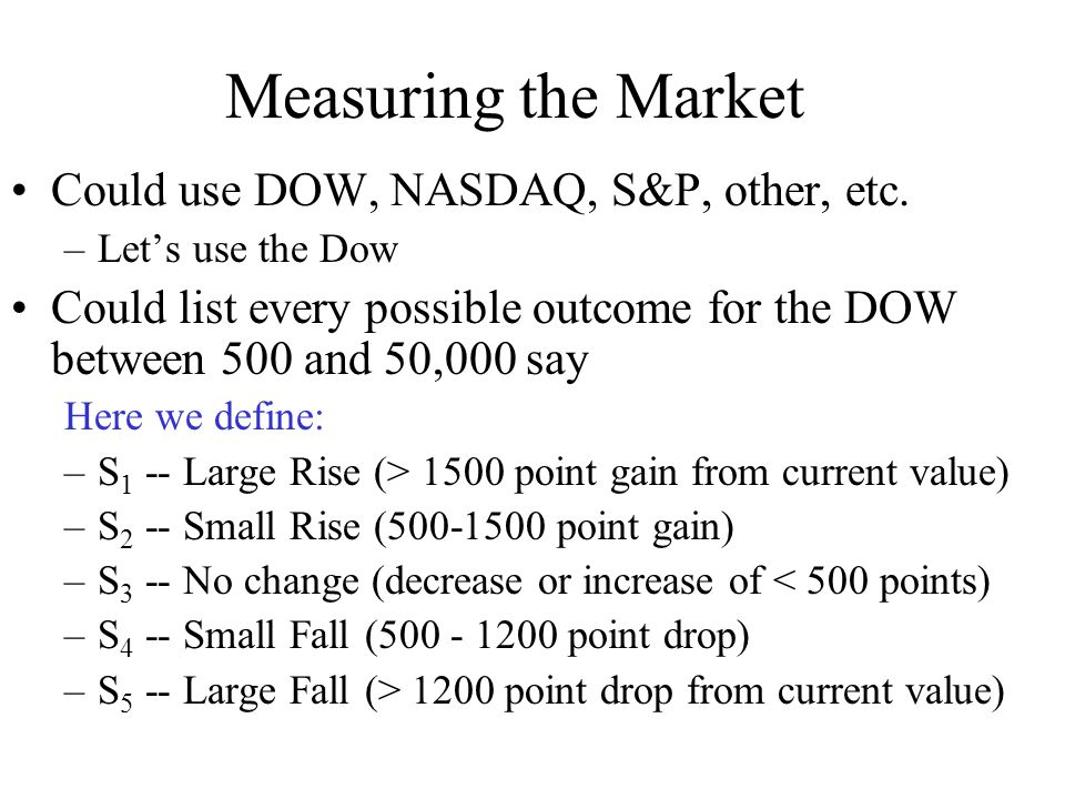 Measuring the Market Could use DOW, NASDAQ, S&P, other, etc.