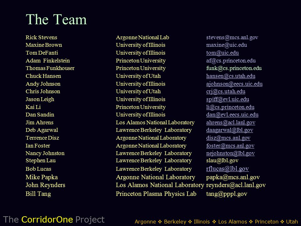 The CorridorOne Project Argonne  Berkeley  Illinois  Los Alamos  Princeton  Utah The Team Rick StevensArgonne National Labstevens@mcs.anl.gov Maxine Brown University of Illinoismaxine@uic.edu Tom DeFantiUniversity of Illinoistom@uic.edutom@uic.edu Adam FinkelsteinPrinceton Universityaf@cs.princeton.edu Thomas FunkhouserPrinceton University funk@cs.princeton.edu Chuck HansenUniversity of Utahhansen@cs.utah.eduhansen@cs.utah.edu Andy JohnsonUniversity of Illinoisajohnson@eecs.uic.eduajohnson@eecs.uic.edu Chris JohnsonUniversity of Utahcrj@cs.utah.educrj@cs.utah.edu Jason LeighUniversity of Illinoisspiff@evl.uic.eduspiff@evl.uic.edu Kai LiPrinceton Universityli@cs.princeton.eduli@cs.princeton.edu Dan SandinUniversity of Illinoisdan@evl.eecs.uic.edudan@evl.eecs.uic.edu Jim AhrensLos Alamos National Laboratoryahrens@acl.lanl.govahrens@acl.lanl.gov Deb AgarwalLawrence Berkeley Laboratorydaagarwal@lbl.govdaagarwal@lbl.gov Terrence DiszArgonne National Laboratorydisz@mcs.anl.govdisz@mcs.anl.gov Ian FosterArgonne National Laboratoryfoster@mcs.anl.govfoster@mcs.anl.gov Nancy JohnstonLawrence Berkeley Laboratorynejohnston@lbl.govnejohnston@lbl.gov Stephen LauLawrence Berkeley Laboratoryslau@lbl.gov Bob LucasLawrence Berkeley Laboratory rflucas@lbl.gov rflucas@lbl.gov Mike PapkaArgonne National Laboratory papka@mcs.anl.gov John ReyndersLos Alamos National Laboratory reynders@acl.lanl.gov Bill TangPrinceton Plasma Physics Lab tang@pppl.gov