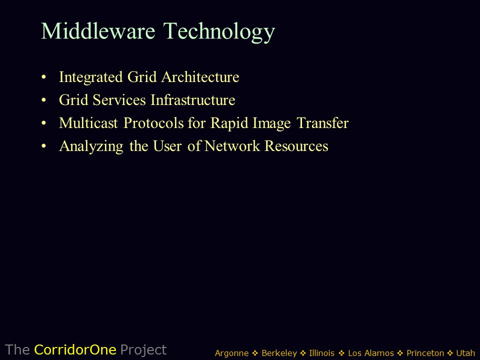 The CorridorOne Project Argonne  Berkeley  Illinois  Los Alamos  Princeton  Utah Middleware Technology Integrated Grid Architecture Grid Services Infrastructure Multicast Protocols for Rapid Image Transfer Analyzing the User of Network Resources