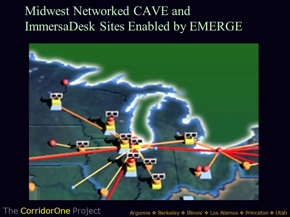 The CorridorOne Project Argonne  Berkeley  Illinois  Los Alamos  Princeton  Utah Midwest Networked CAVE and ImmersaDesk Sites Enabled by EMERGE