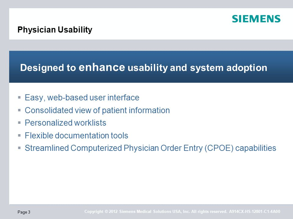 Copyright © 2012 Siemens Medical Solutions USA, Inc.