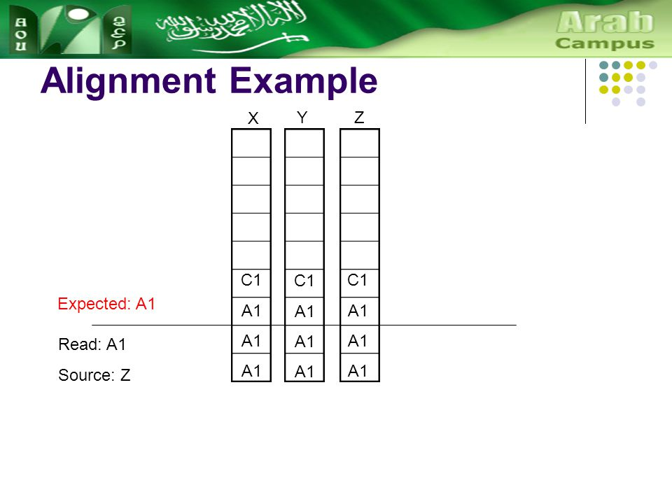 Alignment Example C1 A1 X Y C1 A1 Z C1 A1 Read: A1 Source: Z Expected: A1