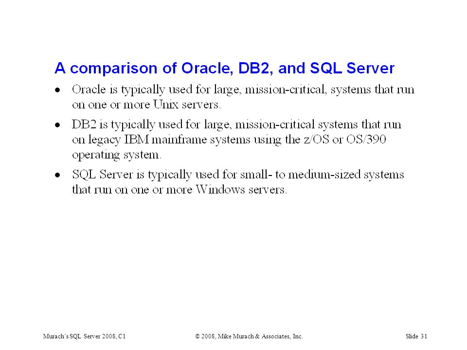 Murach's SQL Server 2008, C1© 2008, Mike Murach & Associates, Inc.Slide 31