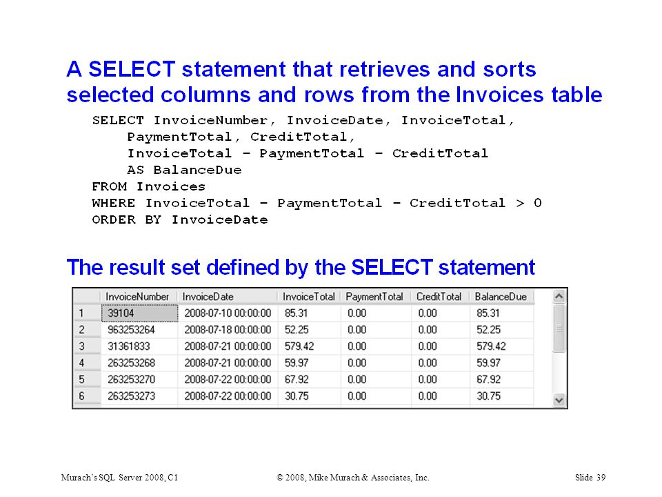 Murach's SQL Server 2008, C1© 2008, Mike Murach & Associates, Inc.Slide 39