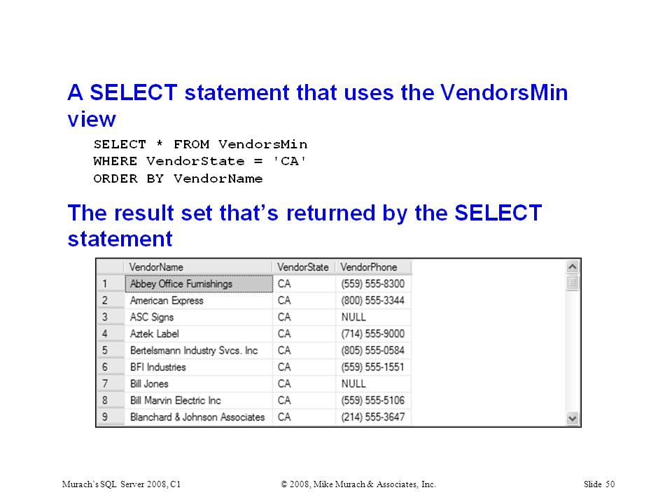 Murach's SQL Server 2008, C1© 2008, Mike Murach & Associates, Inc.Slide 50