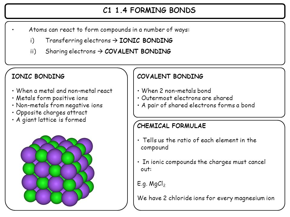 C1 1.4 FORMING BONDS Atoms can react to form compounds in a number of ways: i)Transferring electrons  IONIC BONDING ii)Sharing electrons  COVALENT B