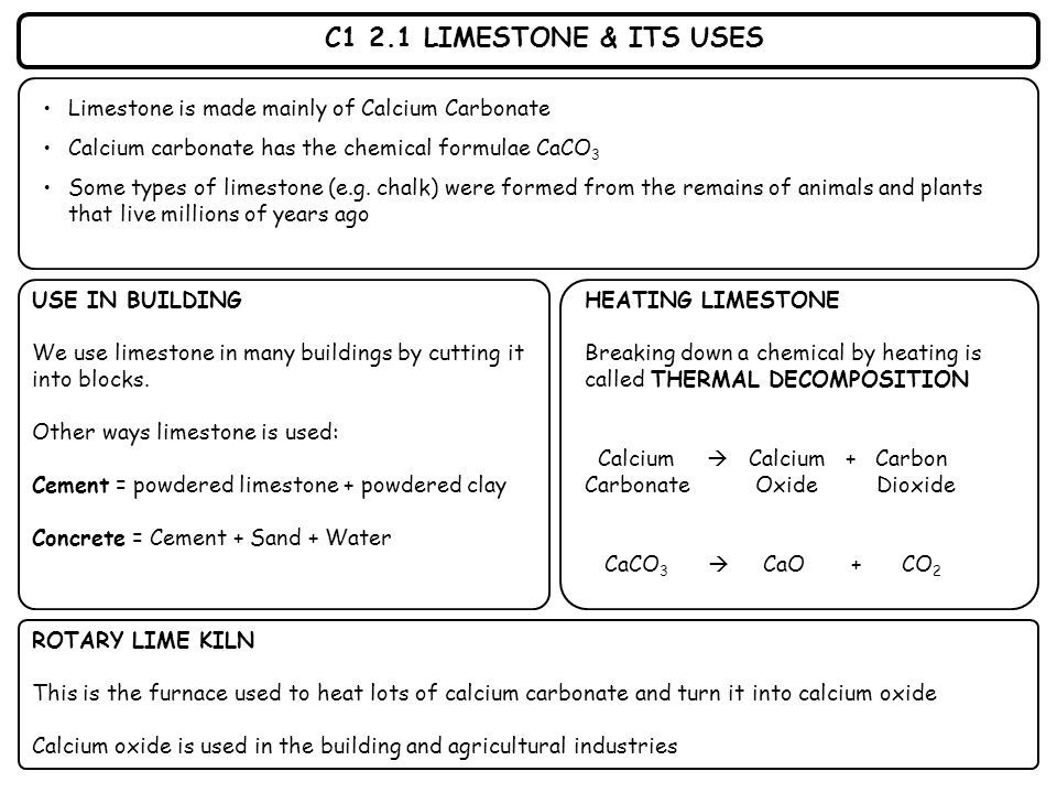 C1 2.1 LIMESTONE & ITS USES Limestone is made mainly of Calcium Carbonate Calcium carbonate has the chemical formulae CaCO 3 Some types of limestone (