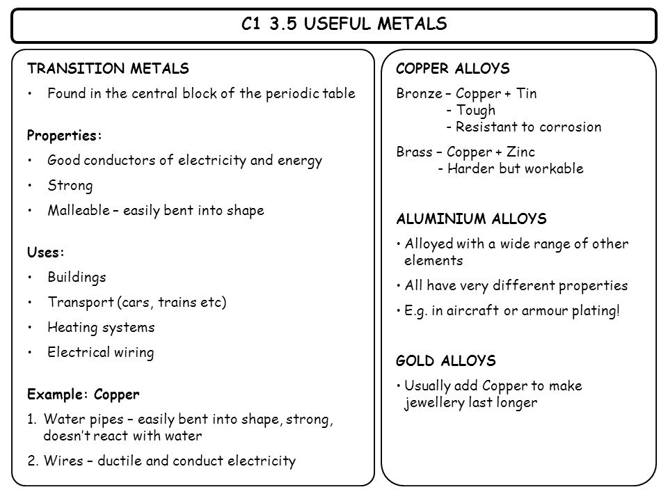 C1 3.5 USEFUL METALS TRANSITION METALS Found in the central block of the periodic table Properties: Good conductors of electricity and energy Strong M