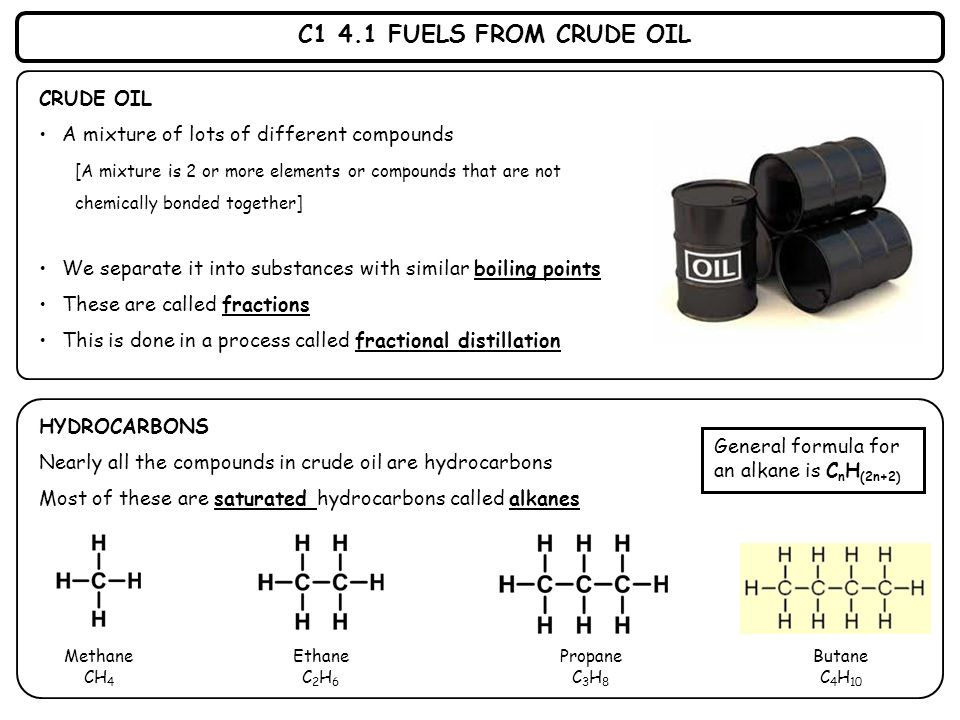 C1 4.1 FUELS FROM CRUDE OIL CRUDE OIL A mixture of lots of different compounds [A mixture is 2 or more elements or compounds that are not chemically b