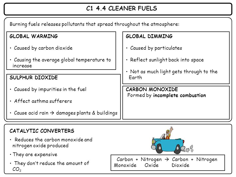 C1 4.4 CLEANER FUELS Burning fuels releases pollutants that spread throughout the atmosphere: CATALYTIC CONVERTERS Reduces the carbon monoxide and nit