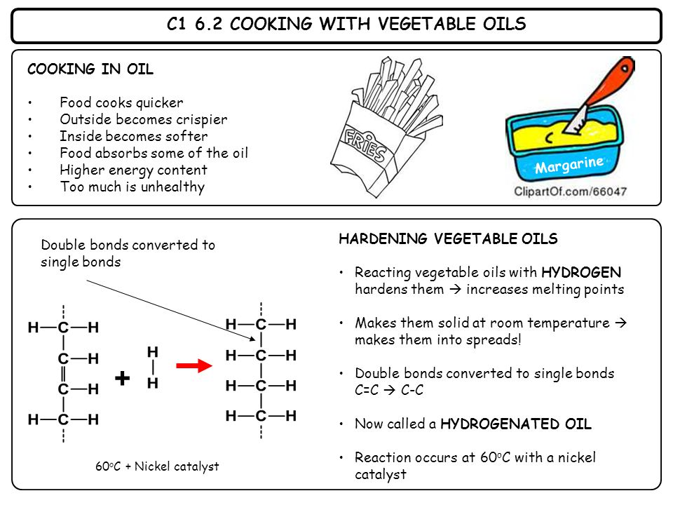 C1 6.2 COOKING WITH VEGETABLE OILS COOKING IN OIL Food cooks quicker Outside becomes crispier Inside becomes softer Food absorbs some of the oil Highe