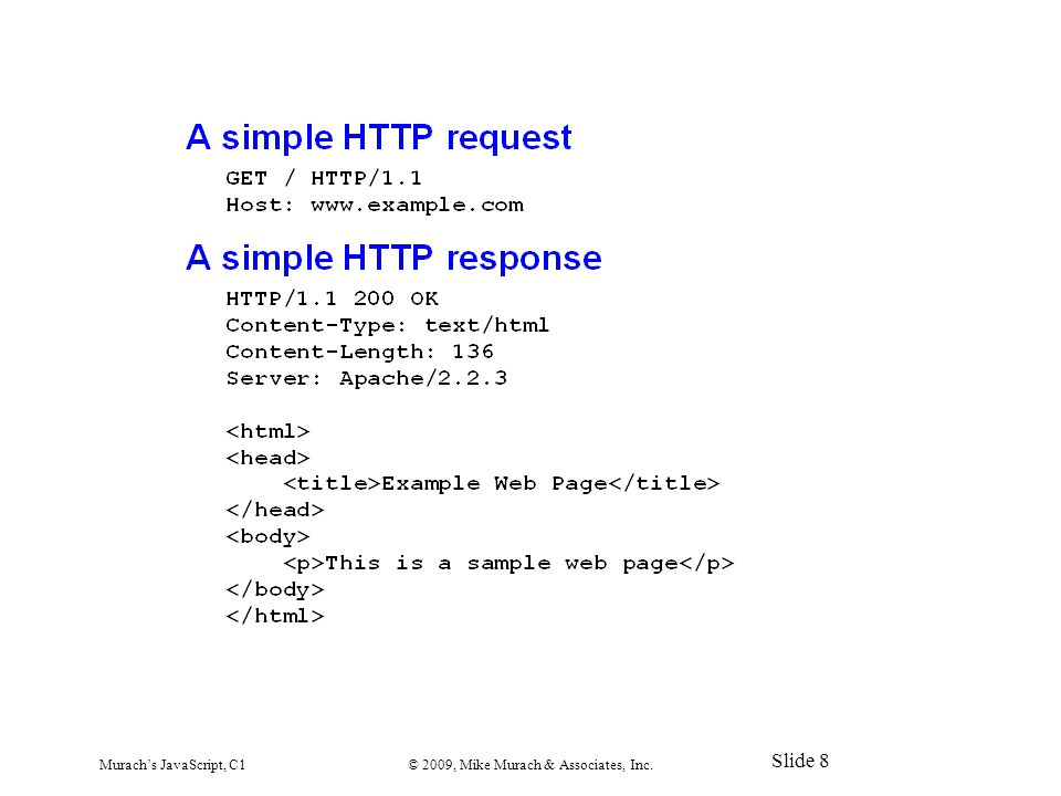 Murach's JavaScript, C1© 2009, Mike Murach & Associates, Inc. Slide 8