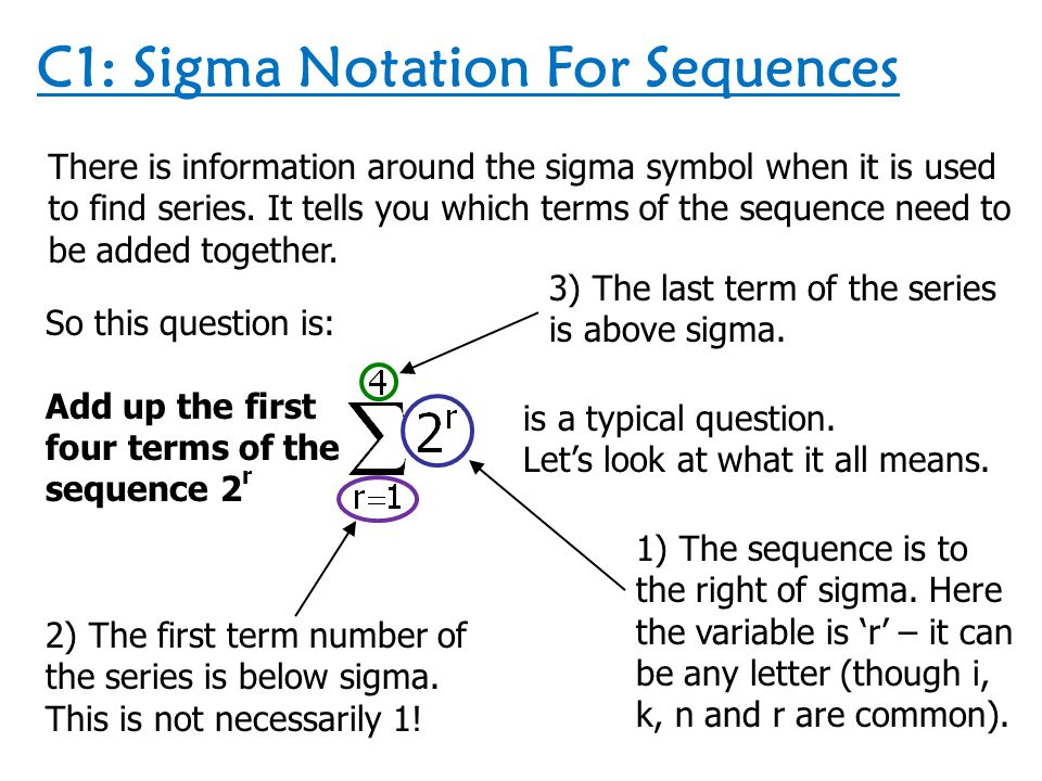 C1: Sigma Notation For Sequences There is information around the sigma symbol when it is used to find series. It tells you which terms of the sequence
