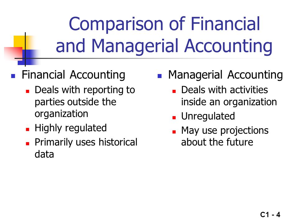 C1 - 4 Comparison of Financial and Managerial Accounting Financial Accounting Deals with reporting to parties outside the organization Highly regulate