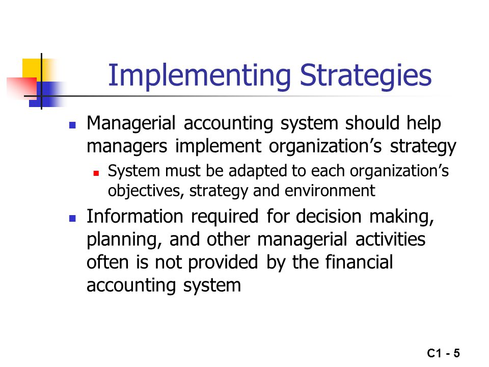 C1 - 5 Implementing Strategies Managerial accounting system should help managers implement organization's strategy System must be adapted to each orga