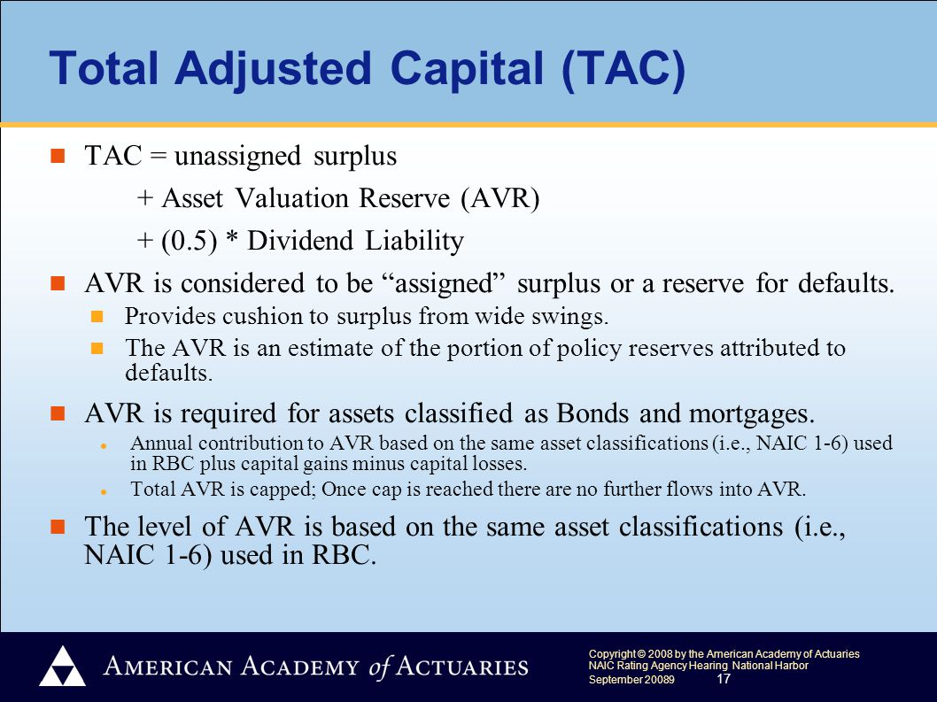 Copyright © 2008 by the American Academy of Actuaries NAIC Rating Agency Hearing National Harbor September 20089 17 Total Adjusted Capital (TAC) TAC = unassigned surplus + Asset Valuation Reserve (AVR) + (0.5) * Dividend Liability AVR is considered to be assigned surplus or a reserve for defaults.