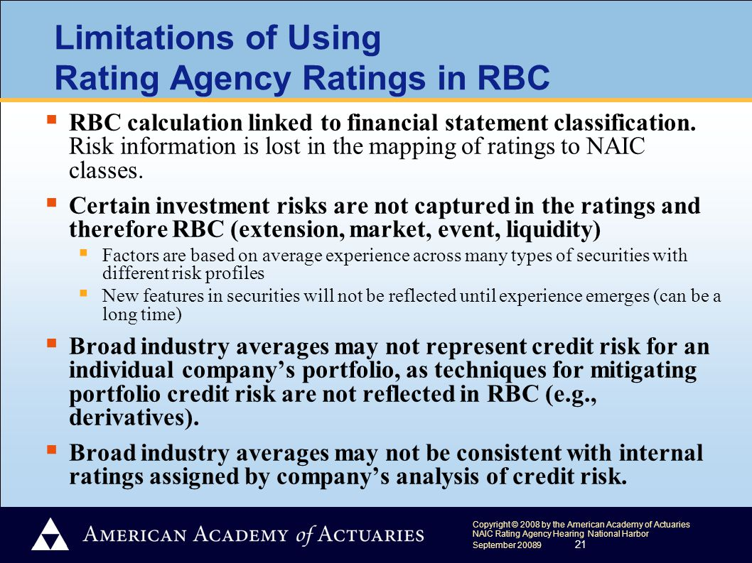 Copyright © 2008 by the American Academy of Actuaries NAIC Rating Agency Hearing National Harbor September 20089 21 Limitations of Using Rating Agency Ratings in RBC  RBC calculation linked to financial statement classification.