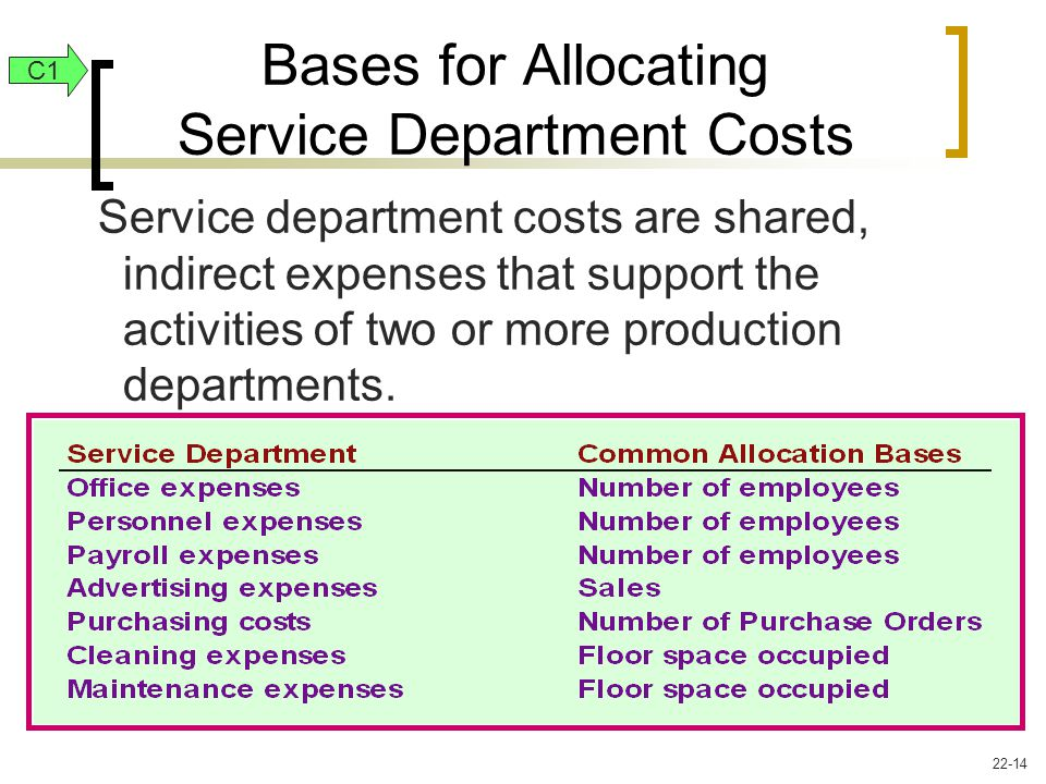 Service department costs are shared, indirect expenses that support the activities of two or more production departments.